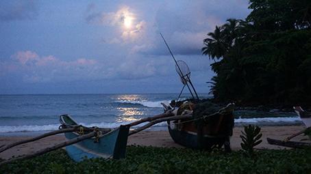 full moon & boats